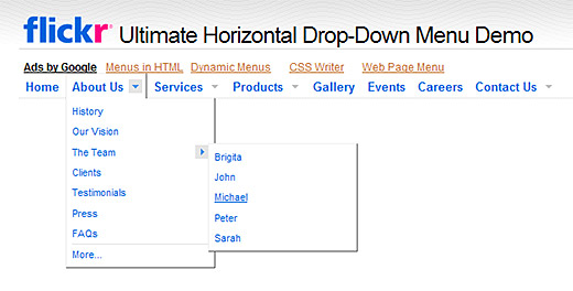 Flickr Ultimate Horizontal Drop-down menu