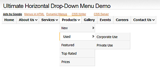Ultimate Horizontal Drop-down menu